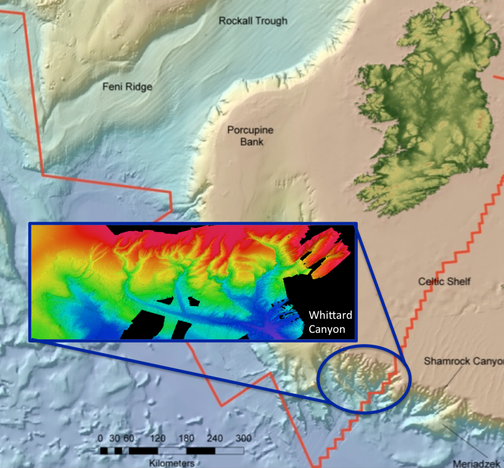 Ireland's marine territory defined by red line. Inset showing bathymetry of Whittard Canyon. Red indicates seafloor depth ~400m; dark blue ~3000m.