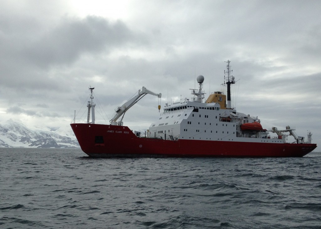 British Antarctic Survey research vessel RRS James Clark Ross off Signy Island, South Orkneys, Antarctica